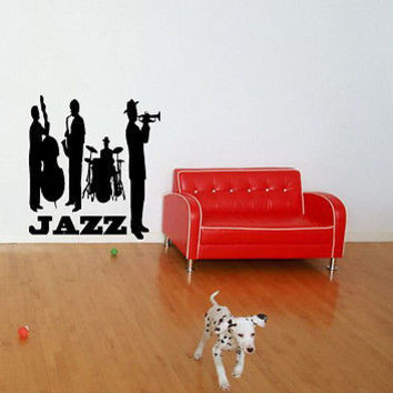 JAZZ BAND MUSIC CUTE WALL VINYL STICKER  DECALS ART MURAL T344