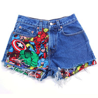 Levis Vintage High Waisted Jean Shorts Cut off Denim Super Hero  Marvel Comic Patched Shorts