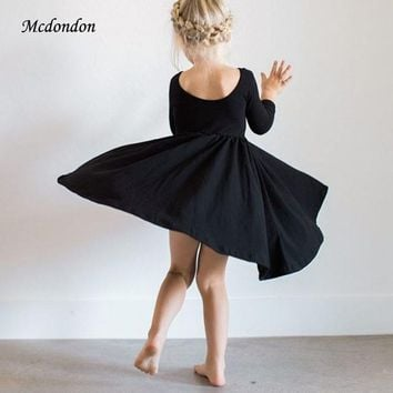 MCDONDON Spring Party Dress Elegant Forest style Princess Girls Dresses Fashion Baby Kids Soft Dress Newborn Toddler Clothing