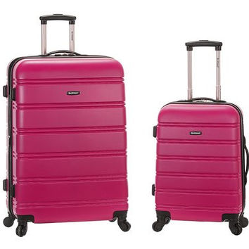 "F225-MAGENTA 20"", 28"" 2Pc Expandable Spinner Luggage Set"