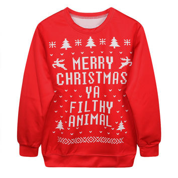 Women Sweaters And Pullovers 2016 Christmas Sweater Women Autumn Winter Long Sleeve Knitted Red Sweaters Ladies Jumper Hot Sale