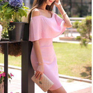 Korean Strapless Ruffle Slim Spaghetti Strap Dress One Piece Dress [10356678285]