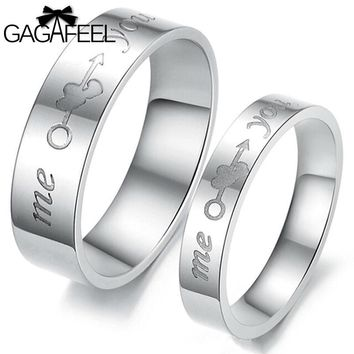 High Quality Women Men Finger Rings Titanium Steel Couples Double Love Heart Cupid Arrow Anillos Never Fade Fine Jewelry R278