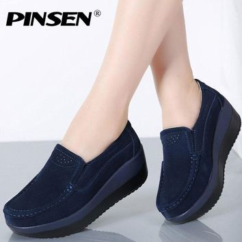 PINSEN 2018 Autumn Women Flat Platform Loafers Shoes Ladies Suede Leather Hollow Casual Shoes Slip on Flats Moccasins creepers