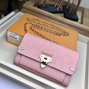 Kuyou Lv Louis Vuitton Gb1978 M63399 Pink Monogram Empreinte Leather Small Leather Goods All Collections Vavin Chain Wallet  19.0 X 12.0 X 4.0 Cm