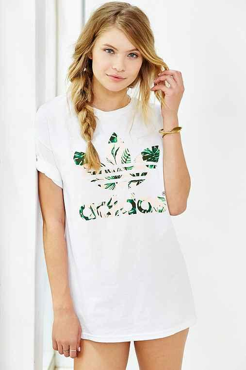 Adidas double logo island floral tee from urban outfitters for Adidas floral shirt urban outfitters
