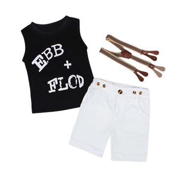 Infant Baby Boy clothes set Gentleman Shirt Tops+ Suspender Pants Shorts Kids Clothes Outfit Drop ship