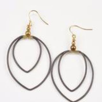 Double Leather Hoop Earring- Putty