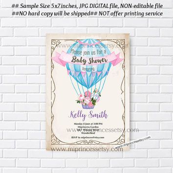 Baby Shower Invitation, watercolor Hot Air Balloon Invitation, Antique Hot Air Balloon Baby Shower, Hot Air Balloon Invite - 925