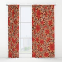 K143 - Red Curls Abstract Window Curtains by gx9designs
