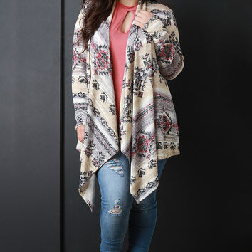 Southwestern Open Front Draped Cardigan