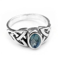 Sterling Silver Blue Topaz Celtic Knot Ring Size 6(Sizes 4,5,6,7,8,9)