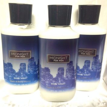 3 PACK Bath & Body Works MIDNIGHT FOR MEN Body Lotion 8 oz