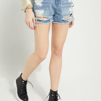 Medium Blue High Waisted Frayed Mom Jean Shortie