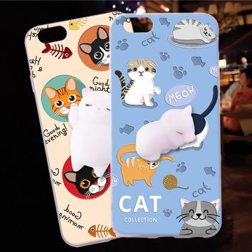 ShuiCaoRen Silicone Case For Iphone 5C phone shell Cute Cat 3D Squishy Sleeping Kitty Coque For iphone 5C