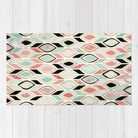 Patchwork Pattern in Coral, Mint, Black & White Rug by Micklyn