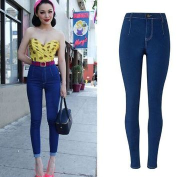 Womens Simple Vintage High Waist Denim Jeans