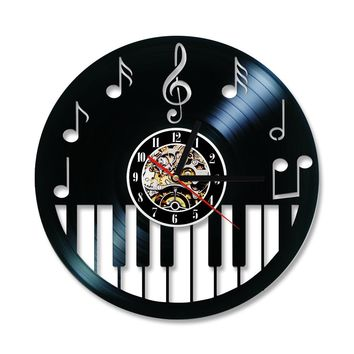 Piano Keyboard Vinyl Record Antique Style Black Round LED Wall Clock
