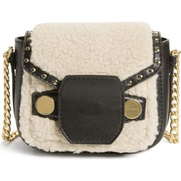 Stella McCartney Faux Shearling & Leather Crossbody Bag | Nordstrom