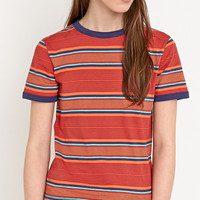Cooperative Stripe Ringer Tee in Orange - Urban Outfitters