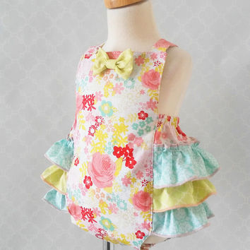Baby Girl Romper, Rose Baby Romper, Cake Smash Outfit, Baby Floral Romper, Baby Sunsuit, Ruffle Romper, Baby Jumpsuit, 1st Birthday Romper