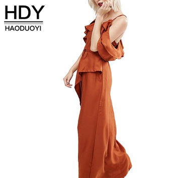 HDY Haoduoyi Solid Brown Women Streetwear Cotton Maxi Dress Backless Ruffled Cami Casual Dress Sexy Cold Shoulder Loose Vestidos