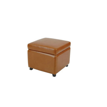 Safavieh Home Furniture HUD4007C Flip-Top Saddle Ottoman Saddle and Saddle Leather