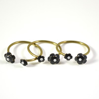 Black Floral Stackable Ring by Eric et Lydie