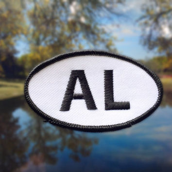 "Alabama AL Patch - Iron or Sew On - 2"" x 3.5"" - Embroidered Oval Appliqué - Yellowhammer State - Black White Hat Bag Accessory Handmade USA"