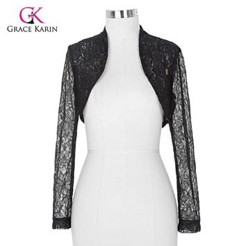 2017 Womens Elegant Long Sleeve Cropped Black White Lace Bolero mariage Shrug Wedding accessories Jackets Bridal Wraps BP49