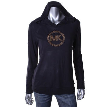 MICHAEL Michael Kors Womens Thermal Rhinestone Hooded Sweater