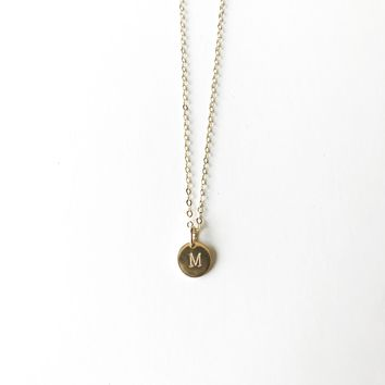 Gold Initial Necklace Letter M - Mini Initial - Minimalist Necklace - 14kt Gold filled - 8mm 14kt Gold Filled Disc