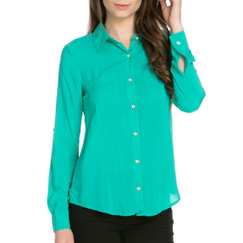 Button Up Shirt Aqua Green