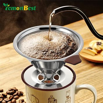 Stainless Steel Coffee Filter for Drip Brew/Pour Over W/Coffee Spoon and Cleaning Brush