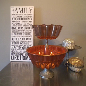 Vintage Upcycled Copper and Silver 2 tier Pedestal server ~ Center Piece ~ Coffee Bar ~ Farm House