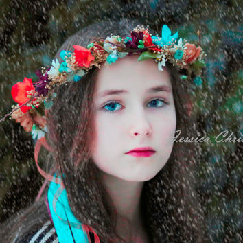 Turquoise Dried Floral Crown Fall colorful hair wreath an AmoreBride original Wedding accessory Woodland Bridal fairy flower girl halo
