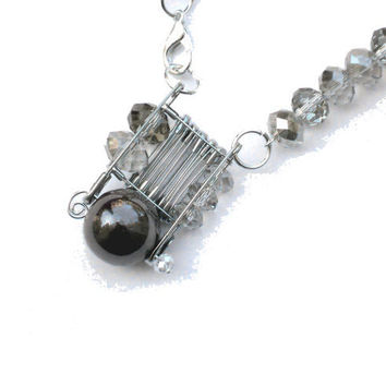 Summer safety pins necklace silver with light brown faceted crystal beads and brown glass pearls- one of a kind