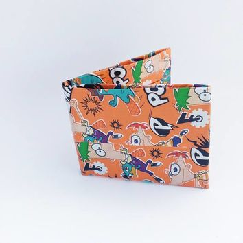 Phineas and Ferb Men's Billfold, Cool Bifold Wallets For Men or Boys