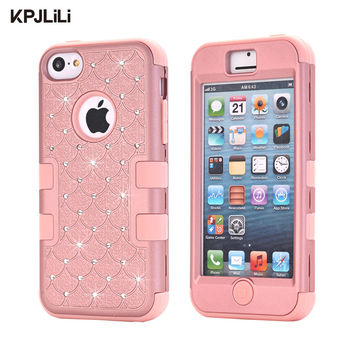 KPJLILI Bling Glitter Hard Case for iPhone 5C New Luxury Full Protective Shockproof Soft Rubber Silicone Armor Phone Cover Capa