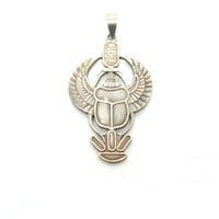 Scarab Jewelry. Egyptian Revival Pendant. Winged Beetle. 800 Silver Jewelry. Vintage 1980s Egypt Amulet