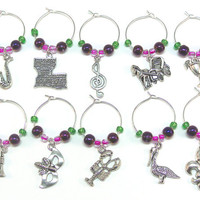 New Orleans Wine Charms- 10 Louisiana Wine Glass Tags, World Traveler, The Big Easy, Mardi Gras Wine Accessories, Crawfish, Saxaphone