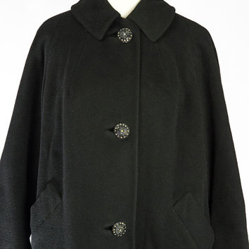 Vintage 1960s Cashmere Coat Rhinestone Buttons Medium