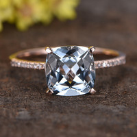 2.2 Carat Cushion Cut Aquamarine Diamond Engagement Ring 14k Rose Gold Straight thin Stacking Band