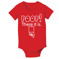POOP There It Is - funny newborn hip hop hiphop rap gift creeper maternity shower girls boys new Infant - Baby Red ONE-PIECE DT0253
