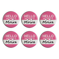 Moira Hello My Name Is Plastic Resin Button Set of 6