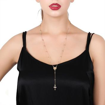 Trendy Catholic Rosary Beads Long Necklaces