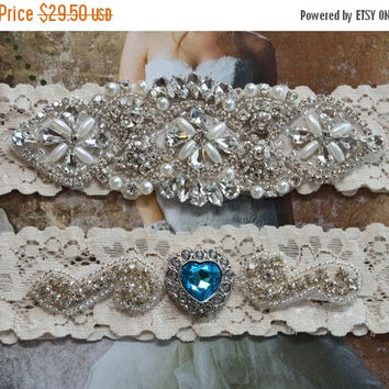 ON SALE Aqua Blue Wedding Garter, Crystal Bridal Garter Set, Vintage Inspired Wedding Stretch Lace Garter, Bridal Garter, Garter