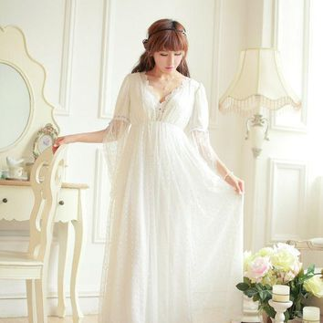 PEAPONHS Free Shipping Lace Soft Gauze Women Long Nightgown Princess Pyjamas Beige Sleepwear roupas de dormir femininas