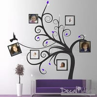 Family Tree Wall Decal - Photo Frame Family Swirl Tree Decal Stickers - Swirl Tree Decor - Vinyl Wall Decal Sticker-