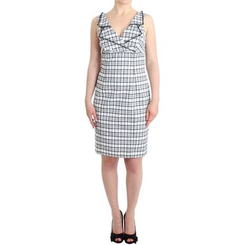 Roccobarocco White checkered pencil dress